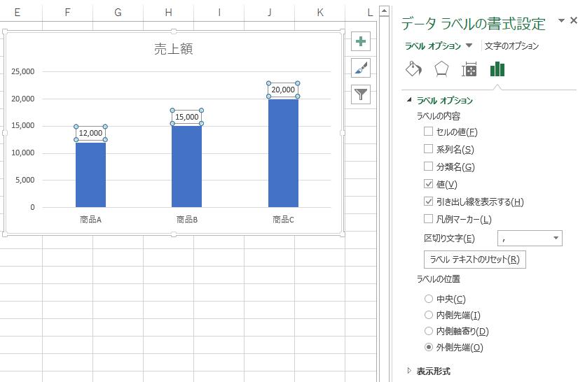 [データラベルの書式設定]作業ウィンドウ