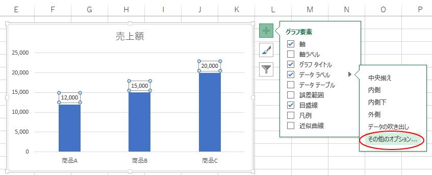 グラフ要素の[その他のオプション]