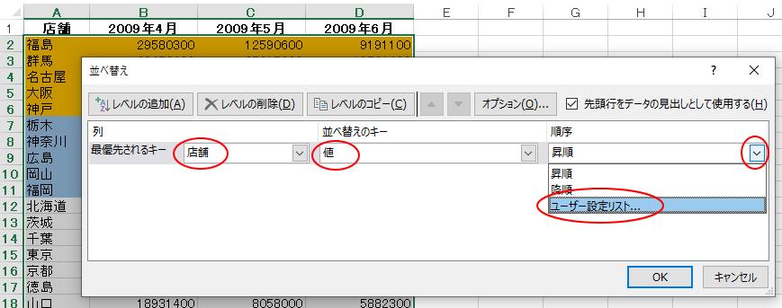 [並べ替え]ダイアログボックスの[順序]で[ユーザー設定リスト]を選択