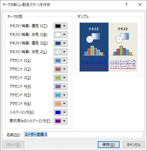 [テーマの新しい配色パターンを作成]ダイアログボックス