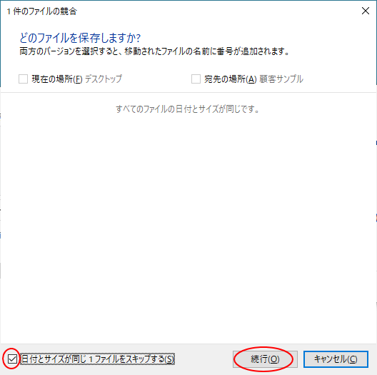 [日付とサイズが同じファイルをスキップする]の項目をオン