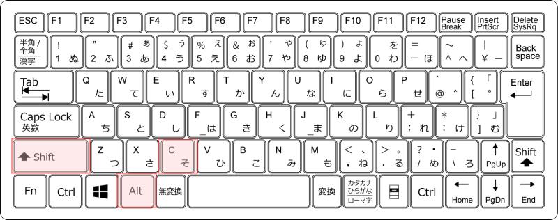 キーボード[Alt]+[Shift]+[C]