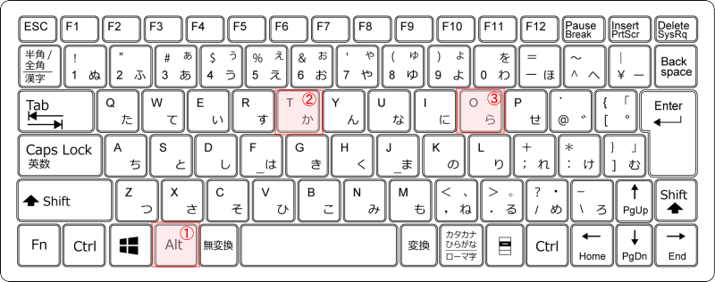 キーボード[Alt]→[T]→[O]