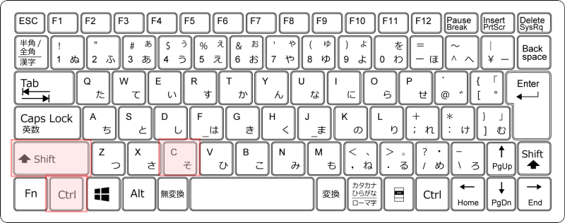 キーボード[Ctrl]+[Shift]+[C]