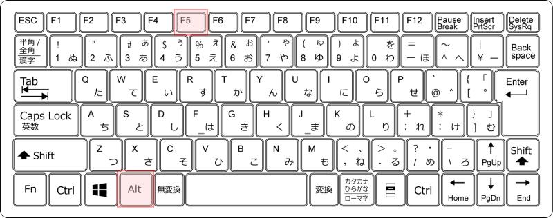 キーボード[Alt]+[F5]