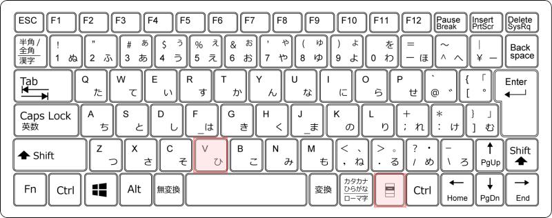 キーボード-[アプリケーション」+[V]