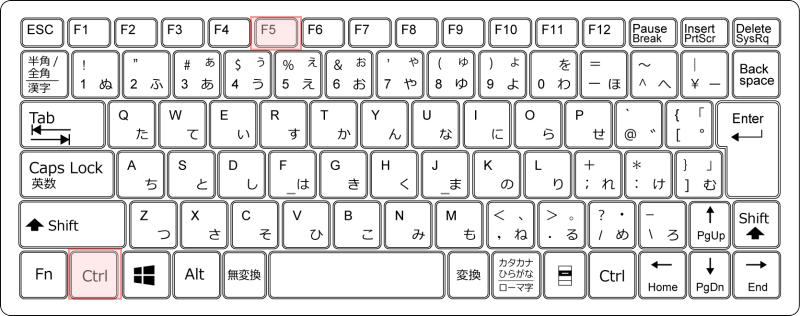 キーボード[Ctrl]+[F5]