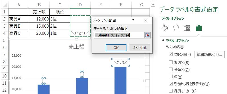 [データラベルの書式設定]で[セルの値]を設定
