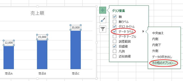 [グラフ要素]の[データラベル]-[その他のオプション]