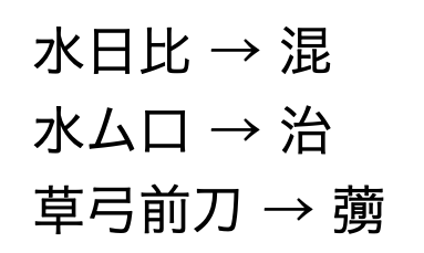 [部品の共通な漢字を検索]で検索して変換した漢字