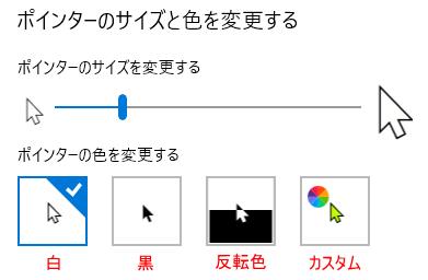 マウスポインターの[ポインターの色を変更する]