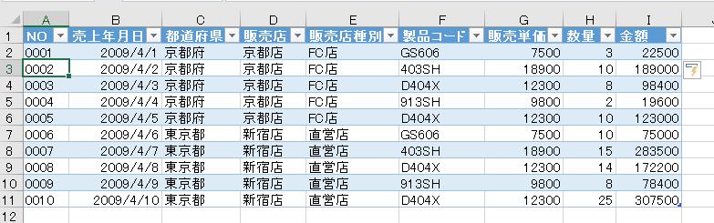 テーブルでは[Enter]キーを押して数式をコピー