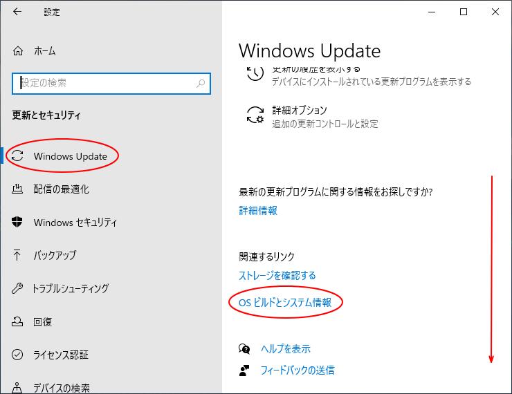 Windows Updateの[OSビルドとシステム情報]
