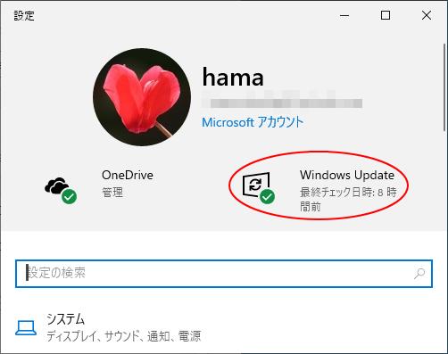 Windows10設定のUpdate情報