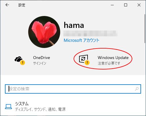 Windows10設定のUpdate情報-注意