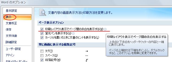 Word2007の[オプション]ダイアログボックス