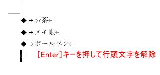 [Enter]キーを押して行頭文字を解除