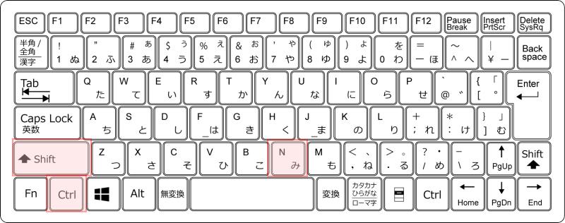キーボード[Ctrl] + [Shift] + [N]