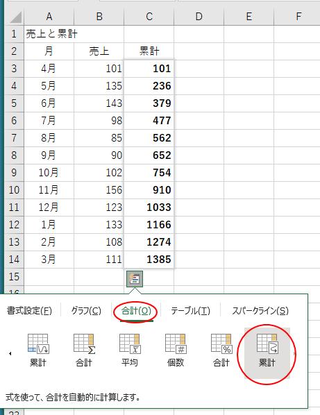 クイック分析で累計を表示