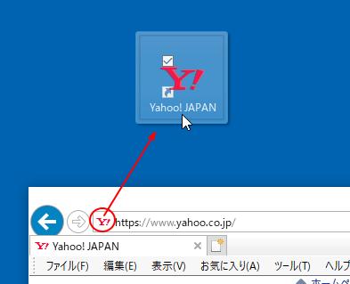 IEでWebページのアイコンをドラッグしてショートカットアイコンを作成
