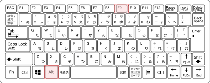 キーボード[Alt]+[F9]
