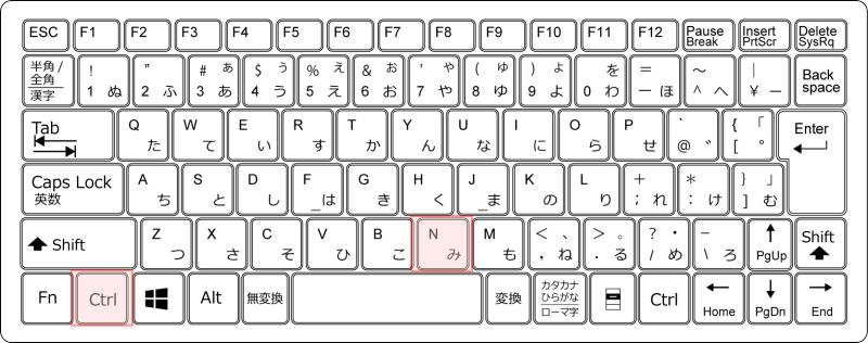 キーボード[Ctrl]+[N]