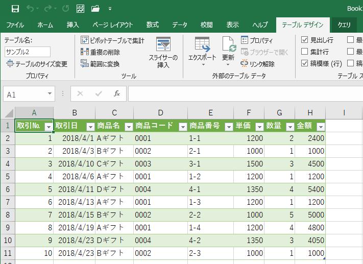 Excelにテーブルとして取り込まれた
