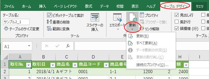 [テーブルデザイン」タブの[外部のテーブルデータ]グループにある[更新]ボタン