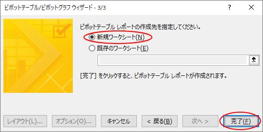 ピボットテーブル/ピボットグラフウィザード-3/3