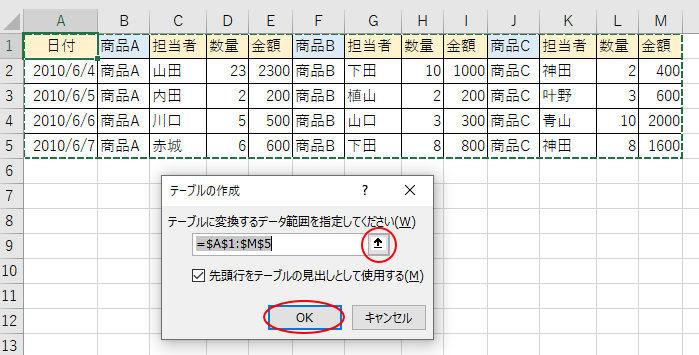 [テーブルの作成]ダイアログボックス