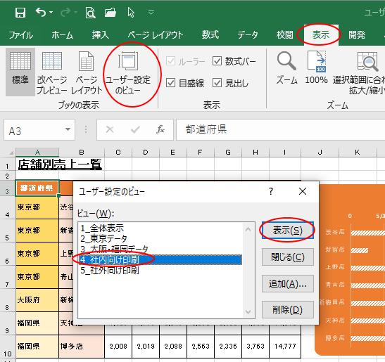 [ユーザー設定のビュー]で[4_社内向け印刷]を選択して[表示]ボタンをクリック