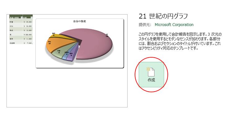 テンプレート[21 世紀の円グラフ]の表示
