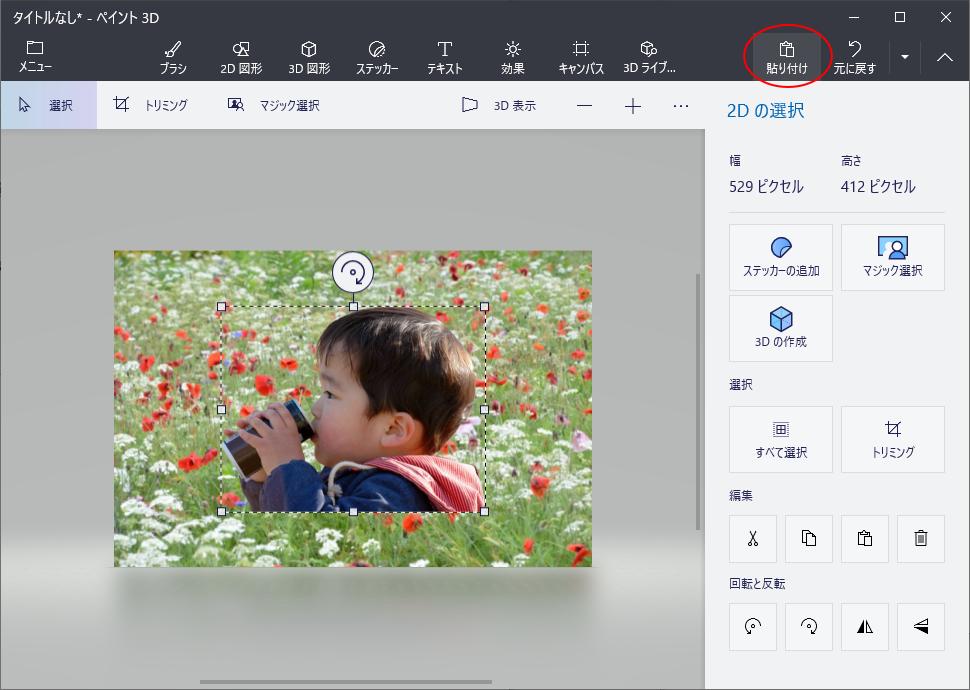 [貼り付け]ボタンをクリックしてクリップボードに保存した画像を貼り付け
