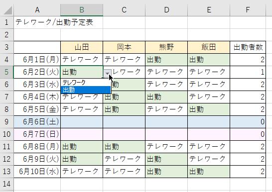 出勤一覧(入力規則と条件付き書式で設定)