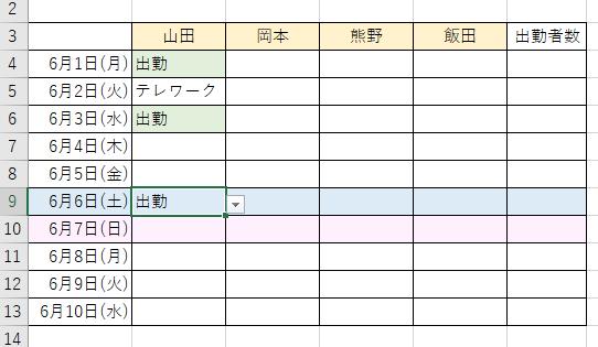 入力規則と条件付き書式を設定した表