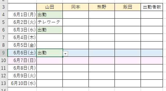条件付き書式のルールの順番を変更した表