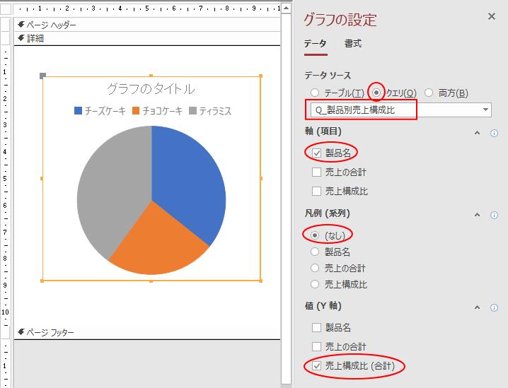 [グラフの設定]でクエリを選択して項目などを設定