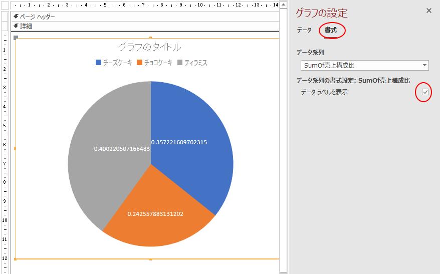 [書式]タブの[データラベルを表示]のチェックボックスをオン