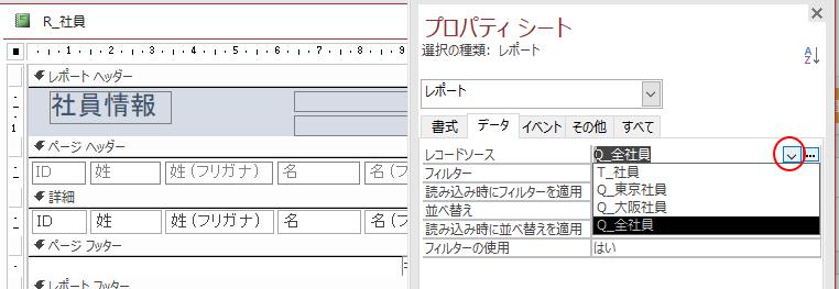 レコードソースの変更