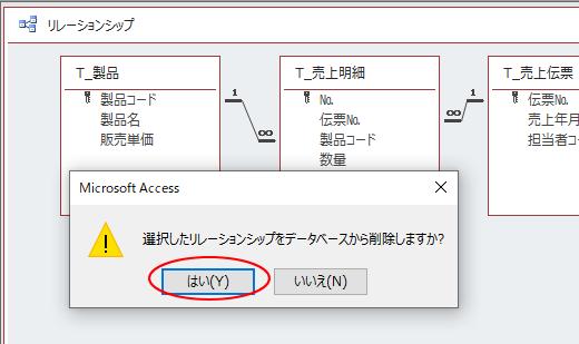 [選択したリレーションシップをデータベースから削除しますか?]のメッセージウィンドウ