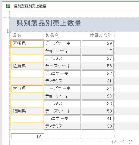 [重複データの非表示]を[はい]に設定したレポート(レイアウトビュー)