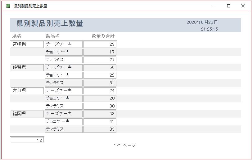 プロパティの[重複データの非表示]を[はい]に設定したレポート