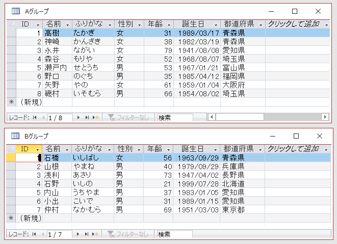 2つのテーブルのデータシートビュー
