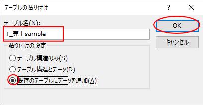 [テーブルの貼り付け]ダイアログボックスで[既存のテーブルにデータを追加]を選択