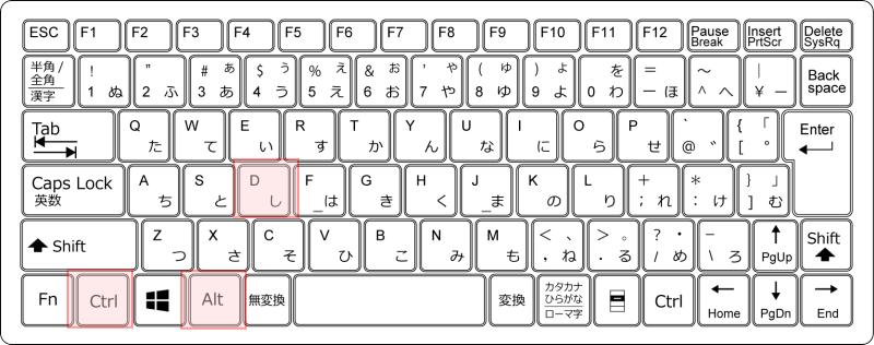 キーボード[Ctrl]+[Alt]+[D]