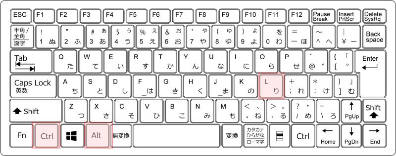 キーボード[Ctrl]+[Alt]+[L]