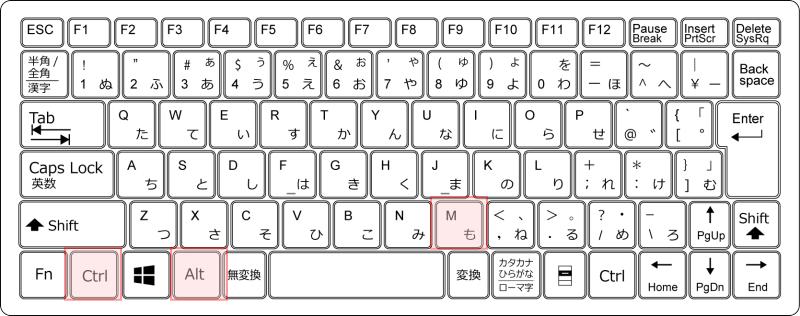 キーボード[Ctrl]+[Alt]+[M]