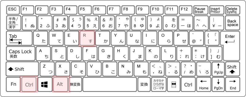 キーボード[Ctrl]+[Alt]+[R]