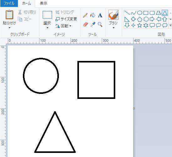 [Shift]キーを押しながらドラッグして描いた正円、正方形、正三角形