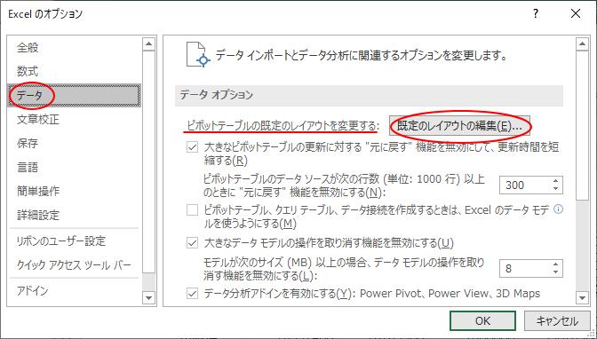 [Excelのオプション]の[データ]タブ-[既定のレイアウトの編集]